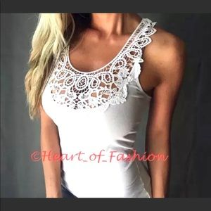 Boho Crochet Front Basic Cotton Blend Tank Top
